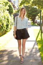 blue Guess heels - light blue Urban Outfitters shirt - silver botkier bag