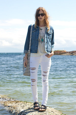 black Birkenstock sandals - white Denim & Supply jeans - sky blue Topshop jacket