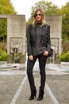 black Zara boots - navy rag & bone jeans - charcoal gray Aritzia sweater