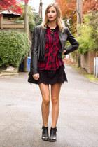 black Zara dress - red Zara top