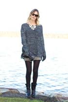 gray XO Bella sweater - black Anne Klein boots - black H&M bag