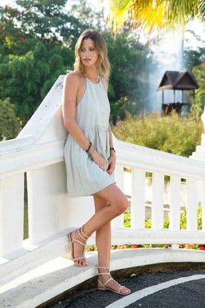 light blue Aritzia dress - nude Rebecca Minkoff sandals