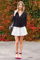 Zara top - white Topshop skirt - maroon Zara heels