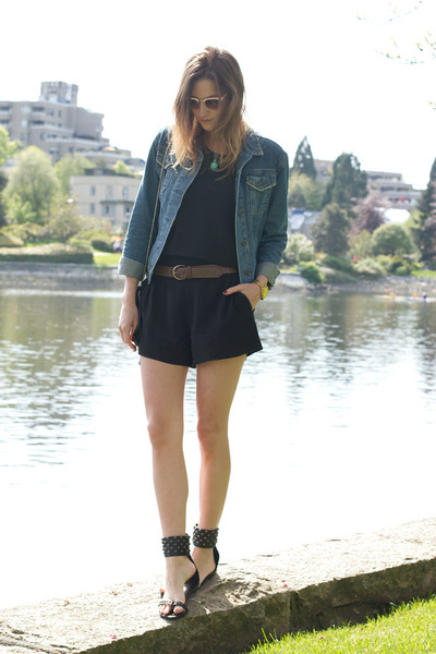 black Aritzia romper - sky blue Topshop jacket - black Anine Bing sandals