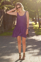 purple Urban Outfitters dress - dark brown sass & bide sunglasses