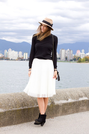 white Topshop skirt - black H&M sweater