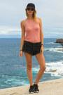 Black-one-teaspoon-shorts-salmon-zaful-top-black-nike-sneakers