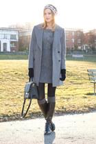 black Via Spiga boots - heather gray inlovewithfashion dress