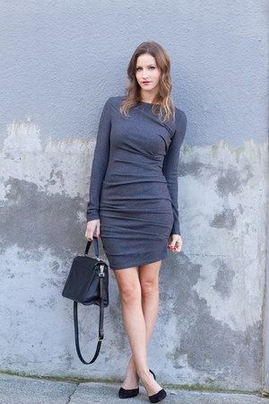 gray Obakki dress - black kate spade bag