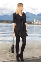 dark green Zara skirt - black Zara boots - black Aritzia blazer - black Zara bag
