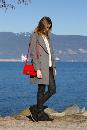 red asos bag - black Isabel Marant shoes - heather gray Zara coat