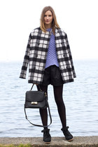 gray French Connection coat - light purple acne sweater - black kate spade bag
