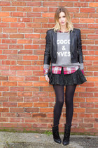 black Zara boots - black Forever 21 jacket - heather gray XO Bella sweatshirt