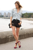black H&M bag - black One Teaspoon shorts - maroon Zara heels