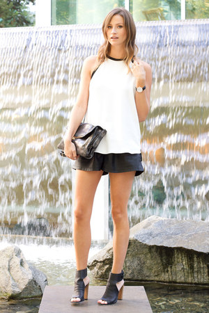black Zara shorts - silver botkier bag - black vince heels - white Zara top