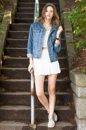 white 2 piece set Tobi skirt - sky blue denim Topshop jacket