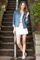 white 2 piece set Tobi skirt - sky blue denim Topshop jacket