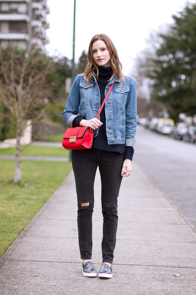 dark gray rag & bone jeans - sky blue Topshop jacket - red asos bag