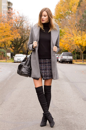 heather gray Zara coat - black Nine West boots - black H&M top