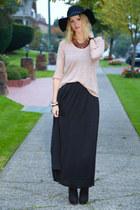 black Zara hat - beige Zara sweater - black Zara skirt