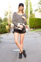 black Topshop boots - navy striped H&M sweater - black One Teaspoon shorts