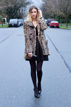 light brown Urban Outfitters coat - black BCBG shoes - black Topshop dress