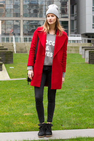 red Zara coat - black Isabel Marant sneakers