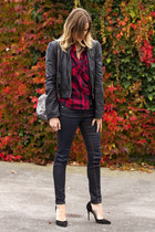 ruby red Zara top - navy rag & bone jeans - black Zara heels