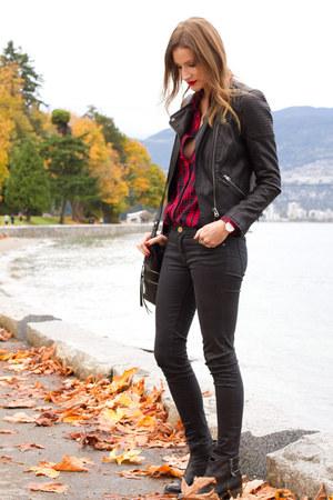 black Topshop boots - black Zara jeans - black Topshop jacket