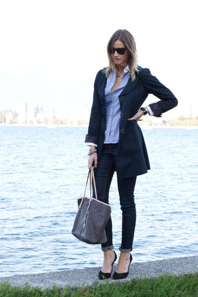 sky blue Zara top - navy rag & bone jeans - black Zara heels