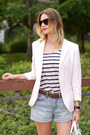 Light-pink-h-m-blazer-light-blue-h-m-shorts-white-joe-fresh-top
