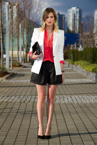 white Zara blazer - black Zara shorts - red Joe Fresh top - black Zara heels