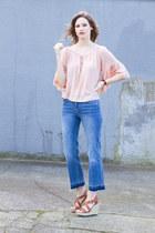blue H&M jeans - light pink Zara top - bronze Michael Kors wedges