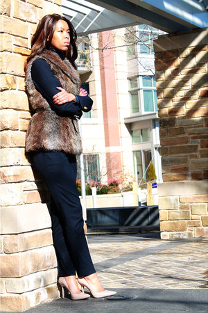 navy H&M pants - camel Marshalls vest