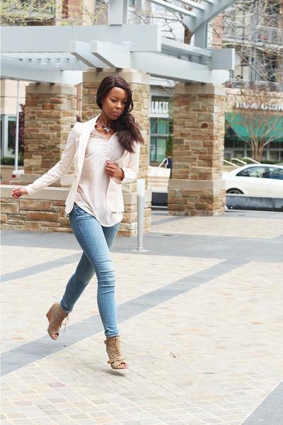nude H&M jeans - nude H&M shirt - light brown Bershka wedges