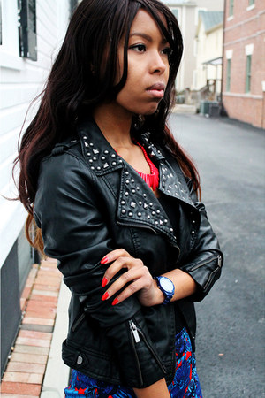 navy ann taylor skirt - black Primark jacket - red Express necklace