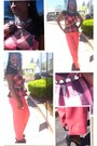 Pink-top-pants-black-vince-camuto-pumps-accessories-studded-leather-belt