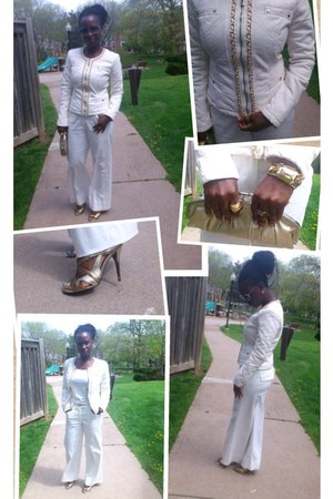 ivory jacket - ivory high waist pants - gold guess heels
