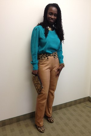 camel leather danier pants - camel Topshop bag - teal blouse - camel BCBG belt