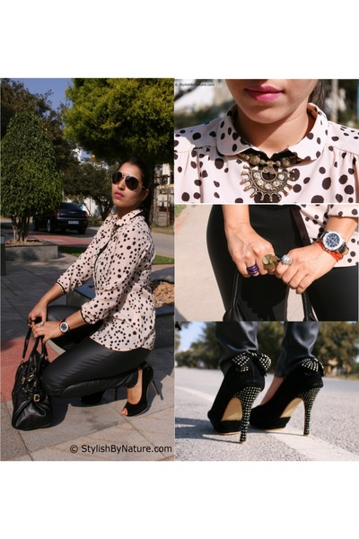 polka dot Zara blouse - leather Zara leggings