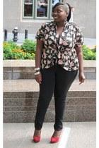 crimson suede Guess shoes - black skinny jeans asos jeans - pink Faith21 Plus ca
