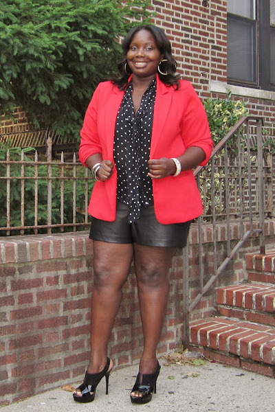 black leather torrid shorts - red one button Forever 21 blazer