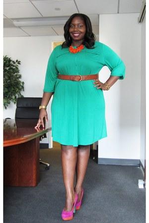 green Old Navy dress - orange Charlotte Russe necklace - hot pink Bakers heels