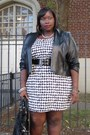 Black-leather-shrug-jessica-london-jacket-white-houndstooth-dots-dress