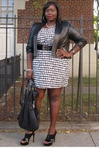 black leather shrug jessica London jacket - white houndstooth DOTS dress