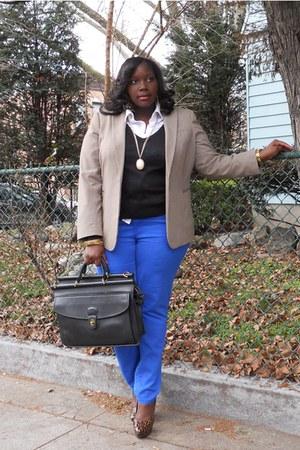 blue Forever21 jeans - black vneck H&M&M sweater - tan calvin klein blazer