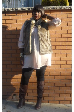 brown torrid vest - dark brown H&M dress - Steve Madden boots