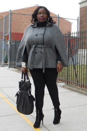 charcoal gray tweed Nordstromtrom cape - black lace-up Jessica Simpson boots