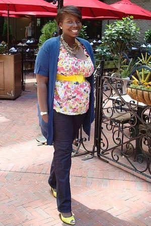 yellow Redress NYC belt - yellow Spring shoes - blue Loft jeans - blue Loft card