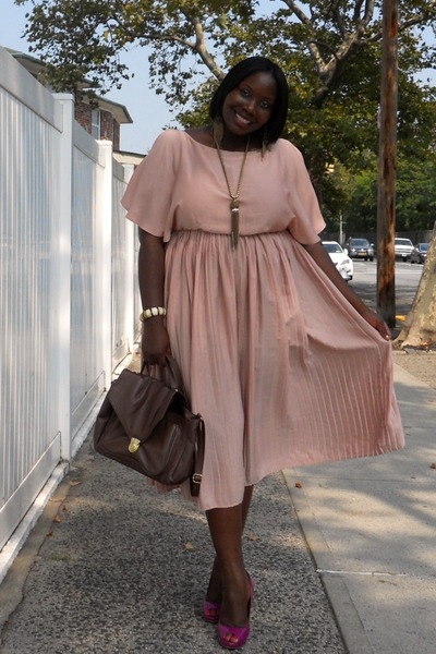 light pink H&M dress - dark brown H&M bag - magenta BCBG pumps